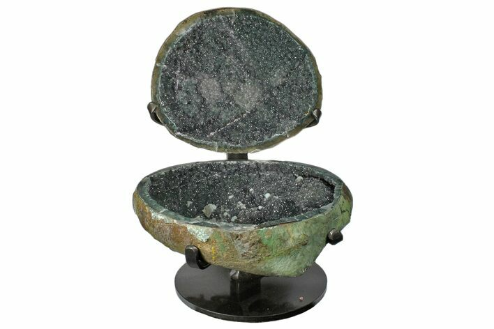 "8.9"" Green/Gray Quartz ""Jewelry Box"" Geode With Metal Stand"