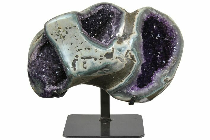 "15.8"" Unique Amethyst Geode On Metal Stand - Uruguay"