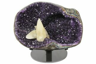 "Buy 11.1"" Amethyst Geode with Calcite Crystals on Metal Stand - Uruguay - #171892"