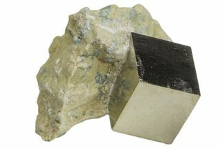"Buy .58"" Natural Pyrite Cube In Rock - Navajun, Spain - #168463"