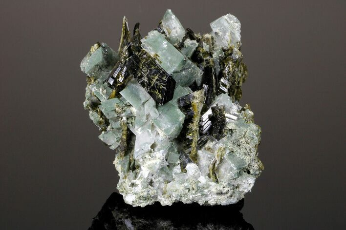 "3.5"" Epidote Crystals with Chlorite Included Adularia - Pakistan"